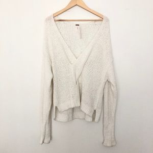 NEW Free People V Neck Chunky Knit Sweater